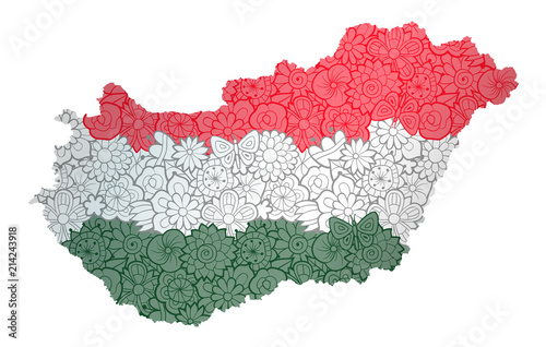 Flag and map of Hungary with flowers Fototapet
