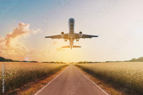 Tuinposter Vliegtuig airplane flying above empty road in rural landscape - travel concept