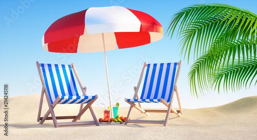 Fotografie, Obraz Liegestühle mit Cocktails am Strand