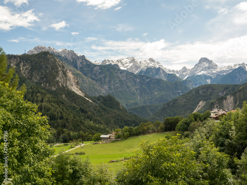 Photo  Pastures and small villages in Dolomiti, Italy