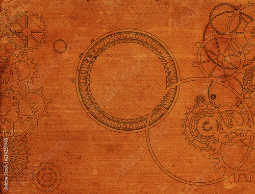 Fotobehang Stof Vintage steampunk background, cogs and gears on grunge old canvas paper