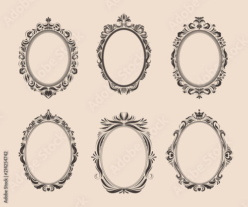 Decorative oval vintage frames and borders set. Victorian and ...