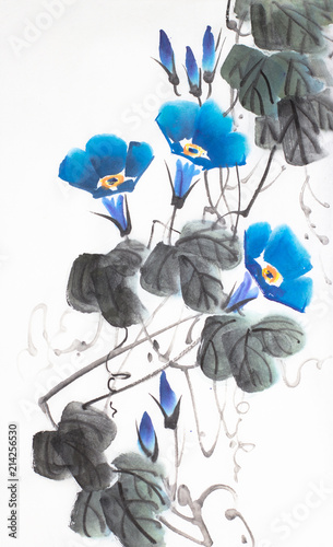 Foto op Canvas Abstract bloemen blue flower of morning glory