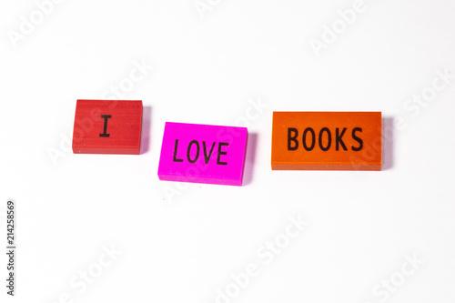 Fotografia, Obraz  The joy of the first day of school expressed in blocks, I love books