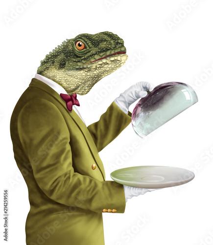 Canvastavla homme tête de reptile- illustration- 3D- maître d'hôtel- chef