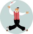 Cartoon man dressed in retro fashion and with a hat dancing, EPS 8 vector illustration