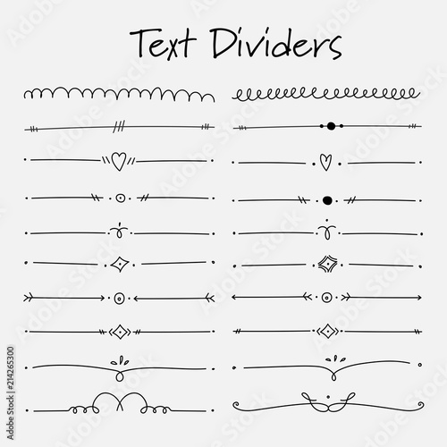 Set Of Text Dividers Calligraphic Elements For Decoration. Handmade Vector Illustration. Wall mural
