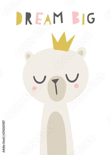 Plissee mit Motiv - Cute bear illustration. Cartoon childish bear in a crown. Dream Big phrase. Nursery poster, wall art design. (von mgdrachal)