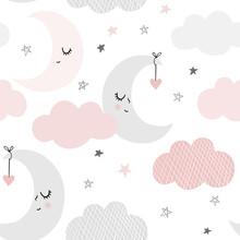 Cute Sky Pattern. Seamless Vec...