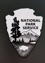 US National Park Service Sign In Black And White