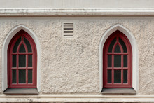 Red Windows Of  An Old Church In Finland