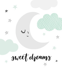Fototapeta Niebo Cute vector moon illustration with hand lettered phrase Sweet Dreams. Sleeping, smiling moon character with clouds and stars in scandinavian style. Soft, pastel colors.