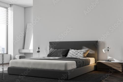 Fotografía  Luxury white Scandinavian bedroom corner