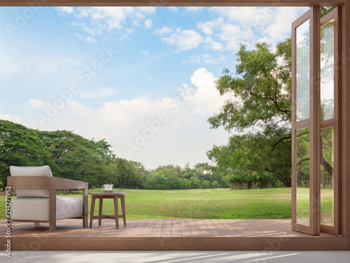Foto auf AluDibond Cappuccino Wood terrace with garden view 3d render,There are large open doors. Overlooks to wooden terrace and large garden.