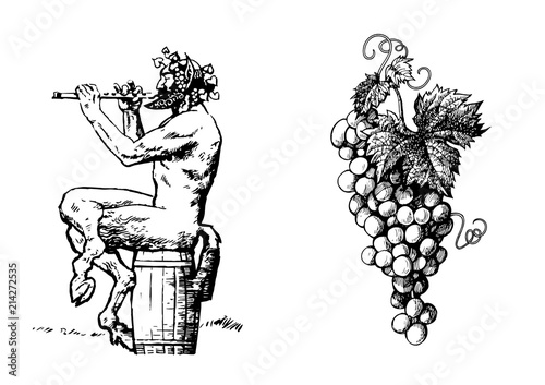 Photo Satyr on the barrel 0f wine playing the flute and bunch of grapes
