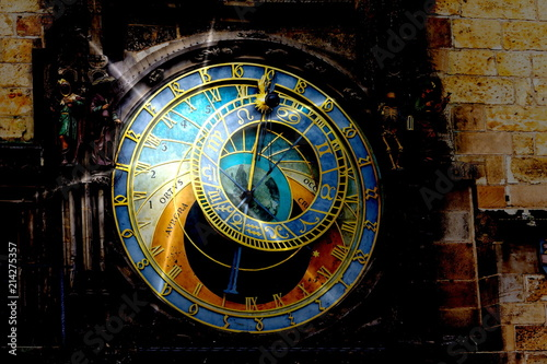 Fotobehang Praag Prague chimes. The medieval clock tower
