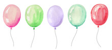Set Of Watercolor Balloons For...