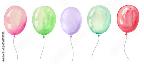 Tela Set of watercolor balloons for a party