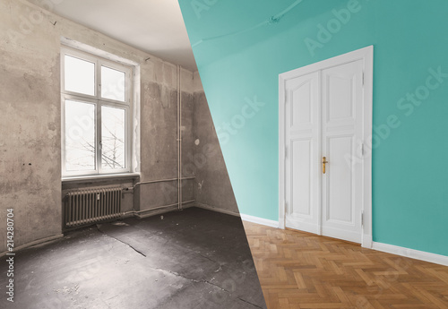 Fotomural flat renovation, apartment refurbishment, room modernization concept