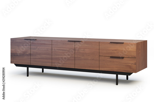 Fotografia, Obraz  Wooden sideboard with retractable shelves. 3d render
