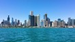 lakefront sailboats and the chicago skyline from the lake