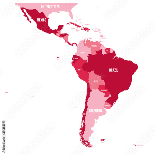 Political map of Latin America. Simple flat vector map with country name labels in four shades of maroon.