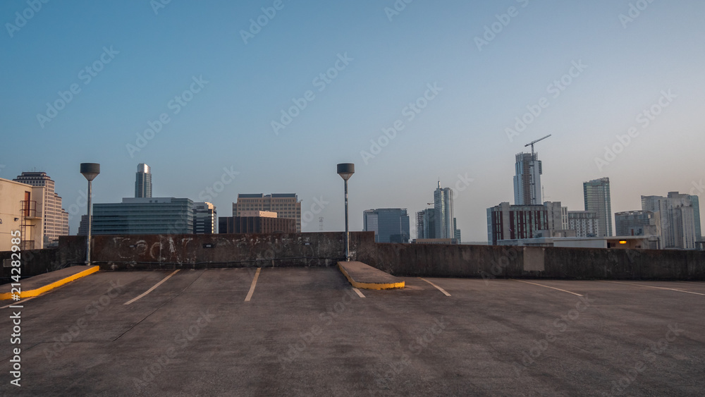 Fototapety, obrazy: Downtown View from Roof Top Parking Lot