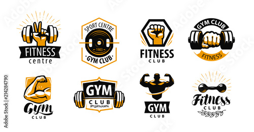 Fototapeta Gym, fitness logo or label. Sport, bodybuilding concept. Vector illustration obraz