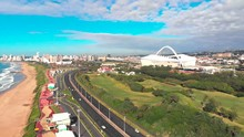 Aerial Shots Of Moses Mabhida Stadium Form The Beach Area In Durban, South Africa.