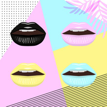 Universal Trend Poster Juxtaposed With Bright Bold Geometric Leaves Foliage Yellow, Blue And Pink Elements. Background In Laconic Fashion Style. Lips With Lipstick In Pin Style