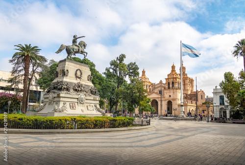 Fototapeta San Martin Square and Cordoba Cathedral - Cordoba, Argentina