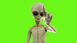canvas print picture - Alien presses the button on green screen. 3D Rendering.