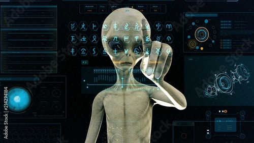 Fotografia  Alien presses the keys on sci-fi hologram screen