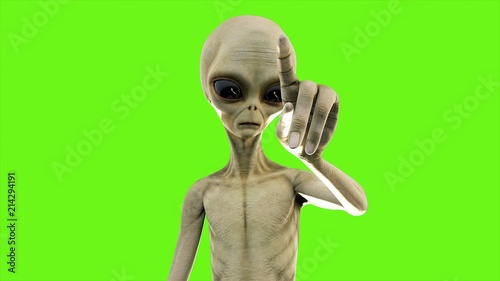 Alien presses the button on green screen. 3D Rendering. Fototapete