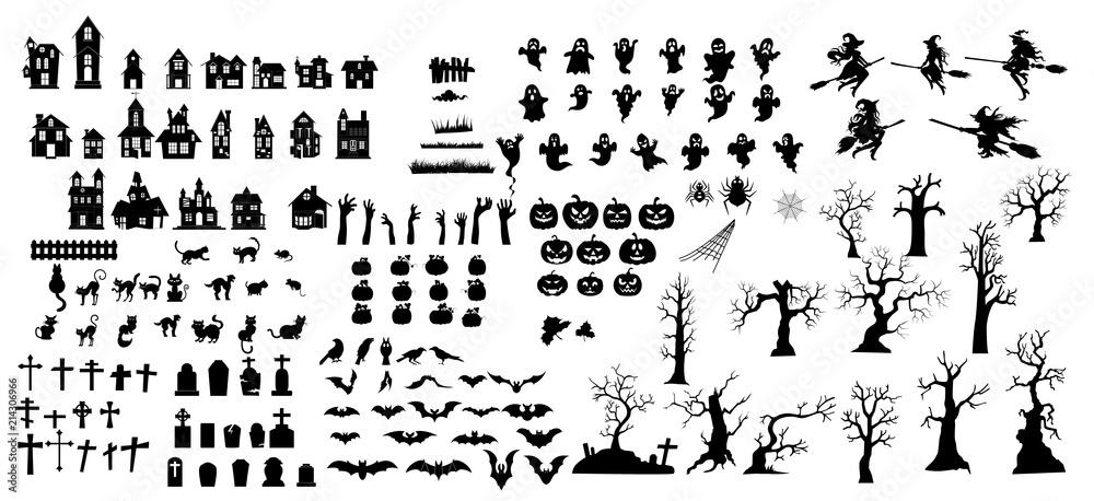 Fototapeta  Collection of halloween silhouettes
