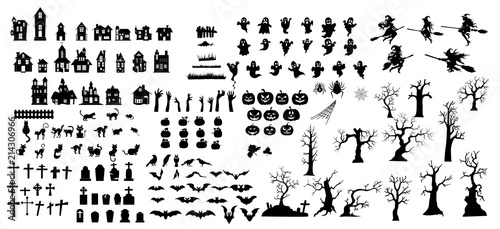 Foto Collection of halloween silhouettes