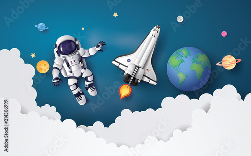 Fotografie, Obraz  Astronaut Astronaut floating in the stratosphere .