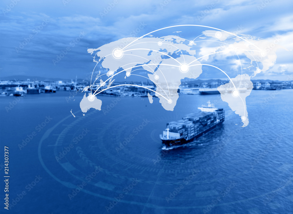 Fototapeta Map global connection concept,Industrial Container Cargo freight ship for Logistic Import Export background background (Elements of this image furnished by NASA)
