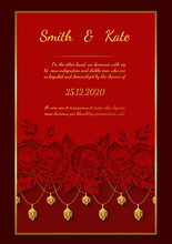 Rose Lace Wedding Card.Red Rose Vector Art Highly Detailed In Line Art Style.Wedding Card Lace Style On Red Background.