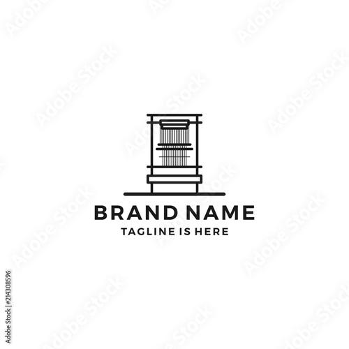 Slika na platnu mill loom weaving tufting machine textile fabric logo template vector icon illus