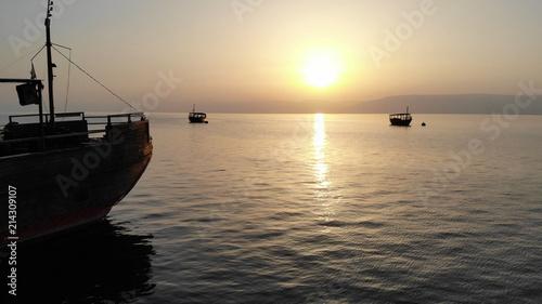 Printed kitchen splashbacks Beige Ships in the Sea of Galilee