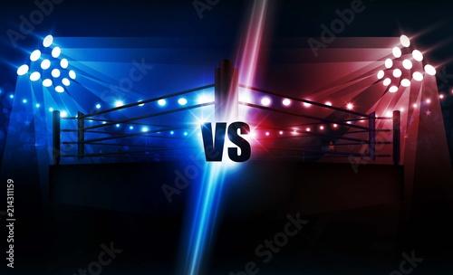 Obraz Boxing ring arena and floodlights vector design. Vector illumination - fototapety do salonu