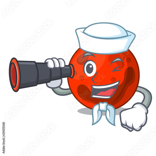 Fotografie, Obraz  Sailor with binocular mars planet mascot cartoon