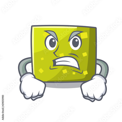Photo Angry square mascot cartoon style
