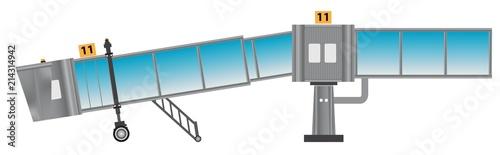 Glass aero bridge or Jetway or Jet bridge Isolated Canvas Print