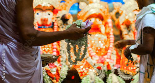 Fotografie, Obraz  Hands of Brahmin Purohit Panda offering white tuberose rajanigandha flowers to lord jagannath balaram suvadra during rath yatra festival