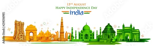 Valokuva Famous Indian monument and Landmark for Happy Independence Day of India
