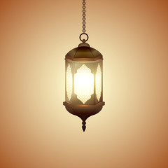 Islamic lantern for Muslim Community festival. Bright beautiful arabic lamp. Graphic design element for greeting card, invitation, flyer, banner. Vector illustration.
