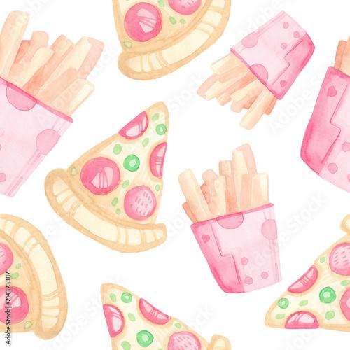 Stoffe zum Nähen Aquarell Musterdesign Handarbeit mit Cartoon-Fast-Food. Pizza und Pommes Frites auf einem weißen Hintergrund