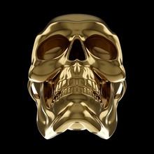 3D Rendering Golden Skull Isol...
